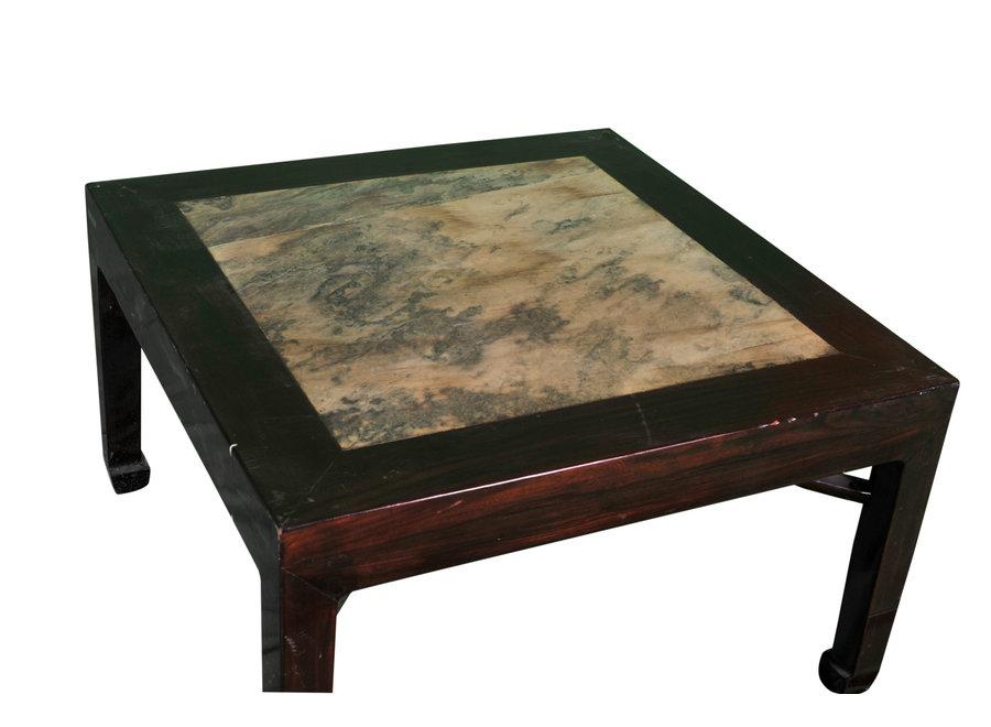 Fine Asianliving Antiker Chinesischer Beistelltisch mit Marmorplatte B50xT50xH50cm