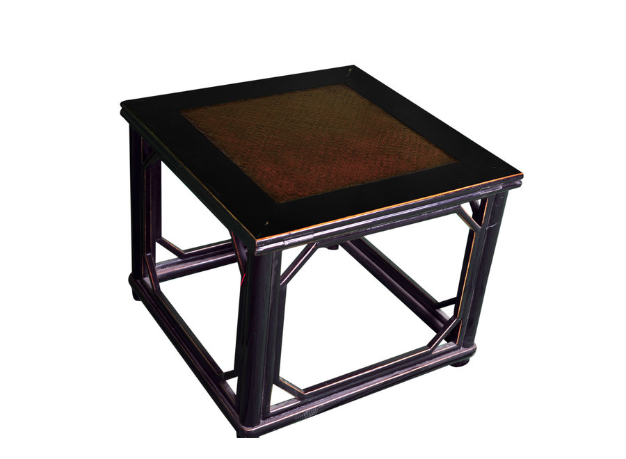 Antique Oriental Stool with Bamboo Top W60xD60xH51cm