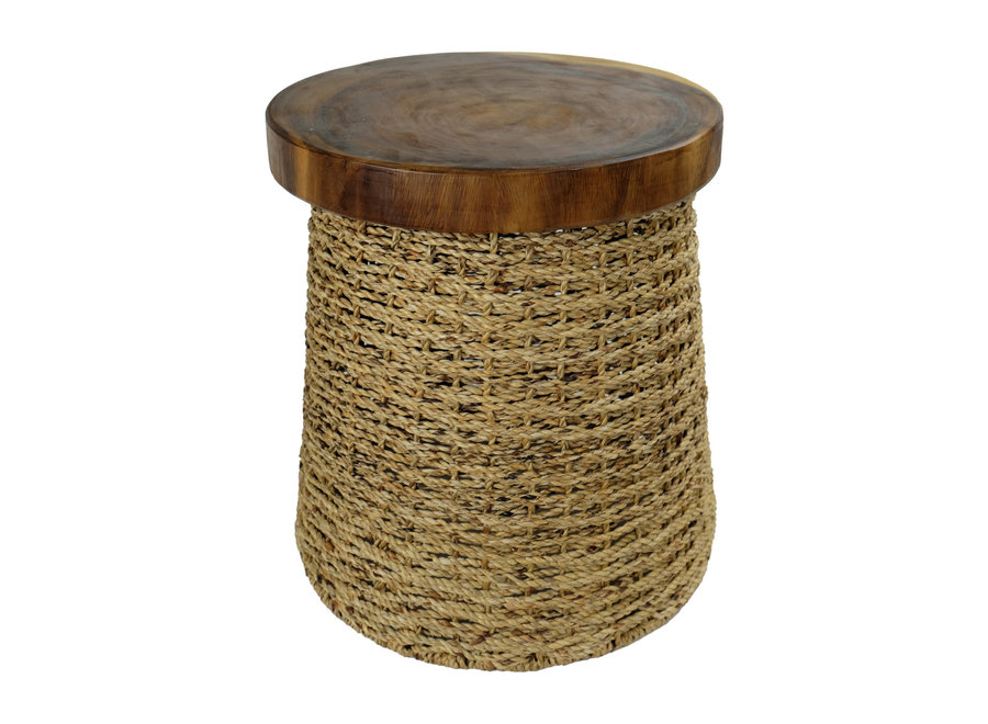 Fine Asianliving Jute Hocker mit Holz Top Hergestellt in Thailand 40x45cm