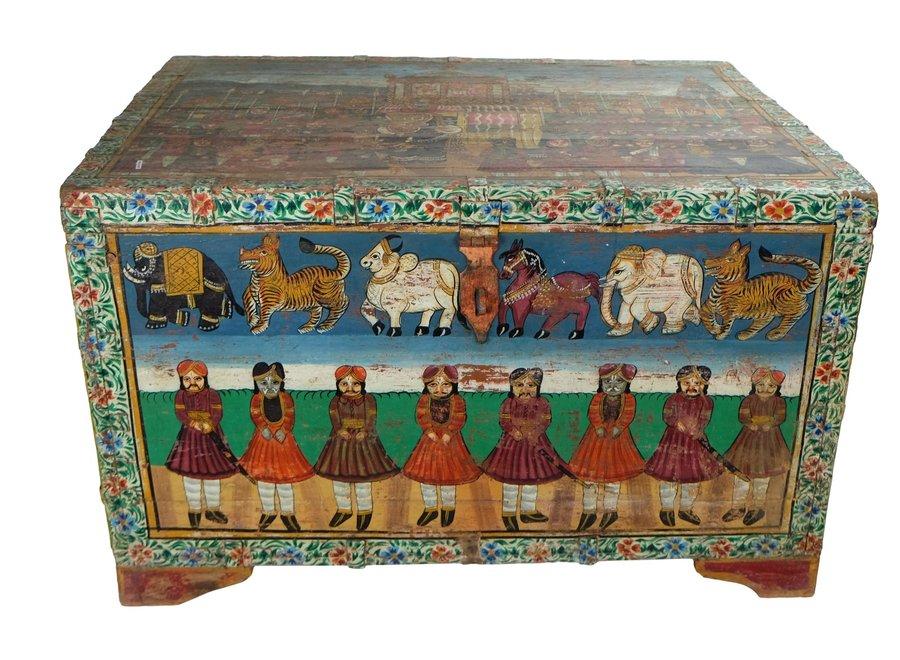 Indische Truhe Handbemalt und Handgefertigt in Indien B82xT60xH51cm