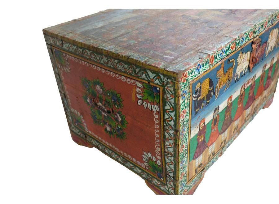 Fine Asianliving Indische Truhe Handbemalt und Handgefertigt in Indien B82xT60xH51cm