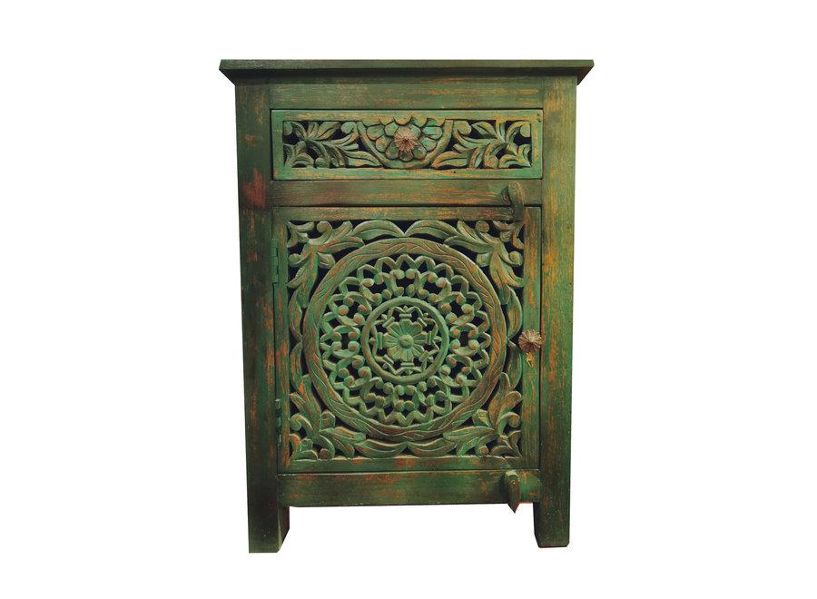 Fine Asianliving Indischer Nachttisch Nachtschrank Holz Teal Handgefetigt in Indien B55xT35xH76cm