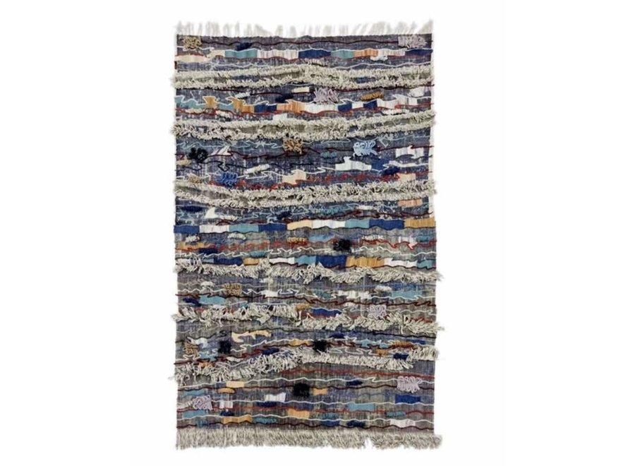 Indischer Teppich Handgemacht Baumwolle Dhurry mit Stickerei 150x240cm