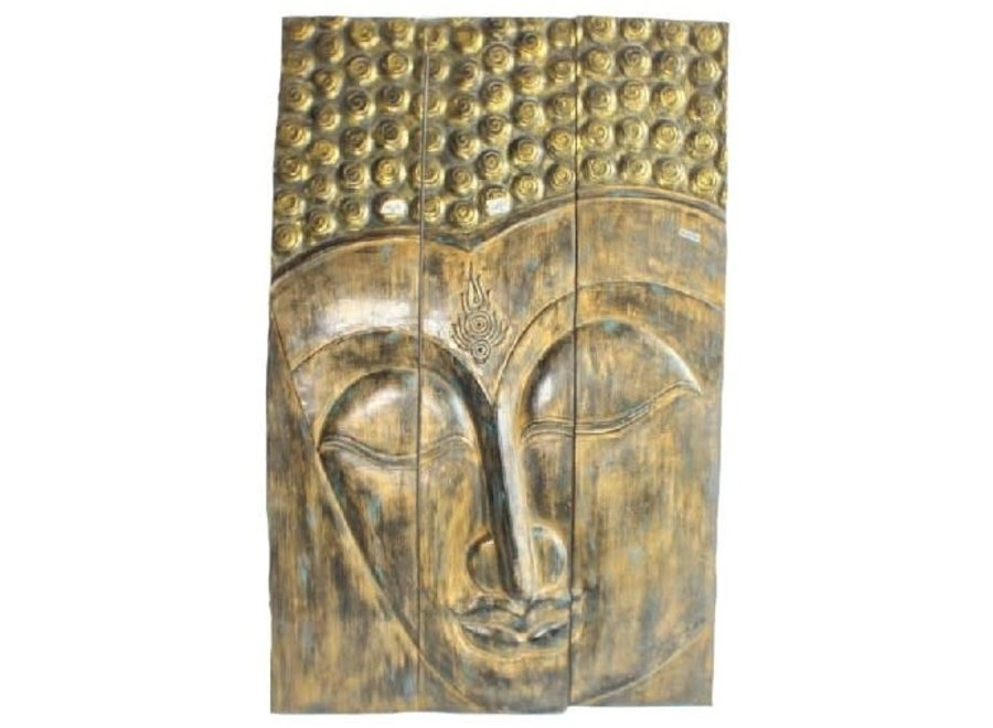 Fine Asianliving Thai Buddha Panel Handmade from Solid Tree Trunk L90xH140cm