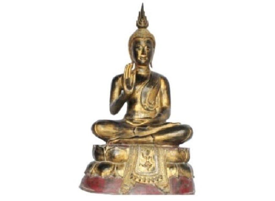 Sukhothai Sitting Buddha Black Red Gold Handmade from Solid Tree Trunk L75xW40xH92cm