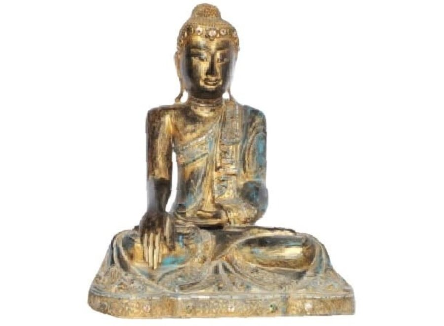 Fine Asianliving Mandalay Sitting Buddha Black Gold L46xW47xH73cm Handmade from Solid Tree Trunk