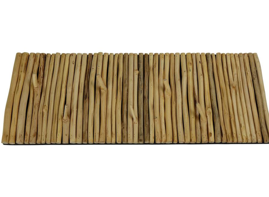 Houten Wandkapstok Massief Mangosteenwood Handmade Thailand L80xB30xH5cm