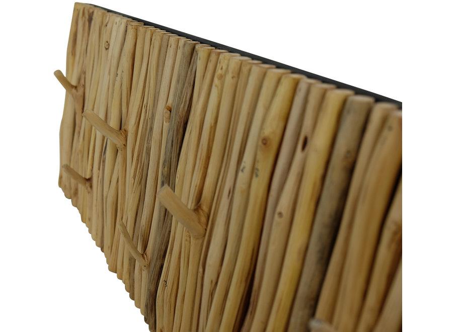 Fine Asianliving Houten Wandkapstok Massief Mangosteenwood Handmade Thailand L80xB30xH5cm