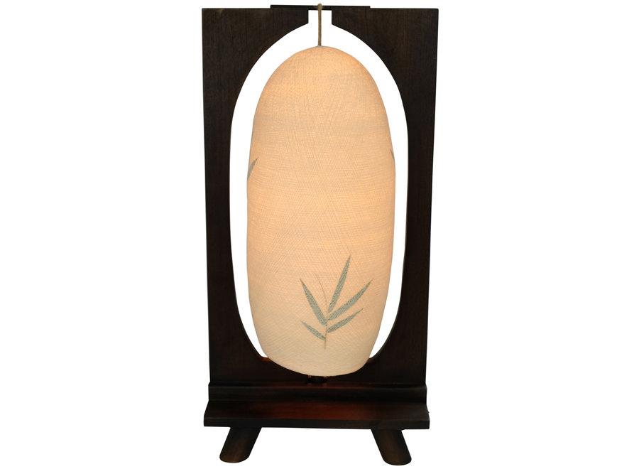 Tischlampe Holz und Baumwollfaden Handgefertigt Dunkel 27x15x55cm