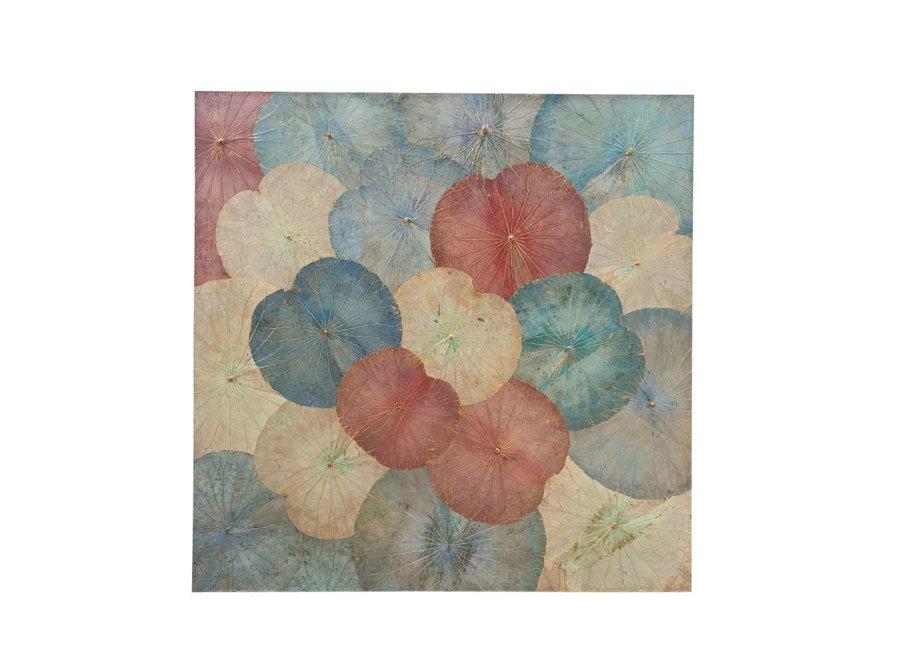 Real Lotus Painting Sustainable Wall Art Vintage Multicolour