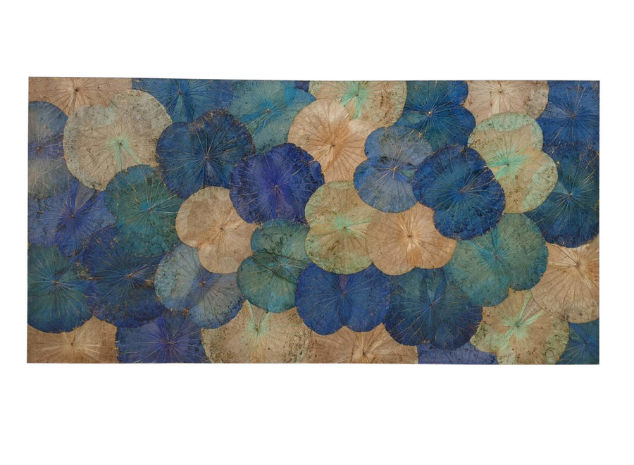 Real Lotus Painting Sustainable Wall Art Sapphire Blue