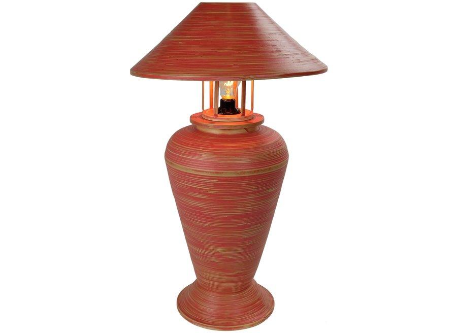 Tischlampe Bambus Spirale Handgefertigt Rot 40x40x65cm