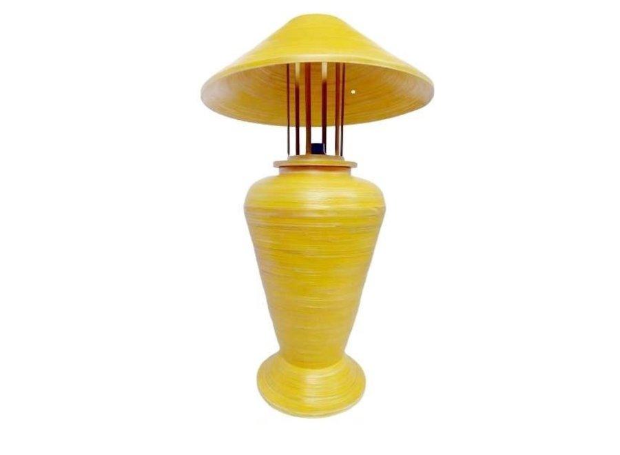 Fine Asianliving Tischlampe Bambus Spirale Handgefertigt Gelb 40x40x65cm