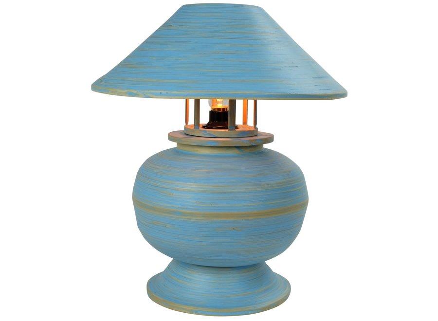 Tischlampe Bambus Spirale Handgefertigt Blau 37x37x40cm