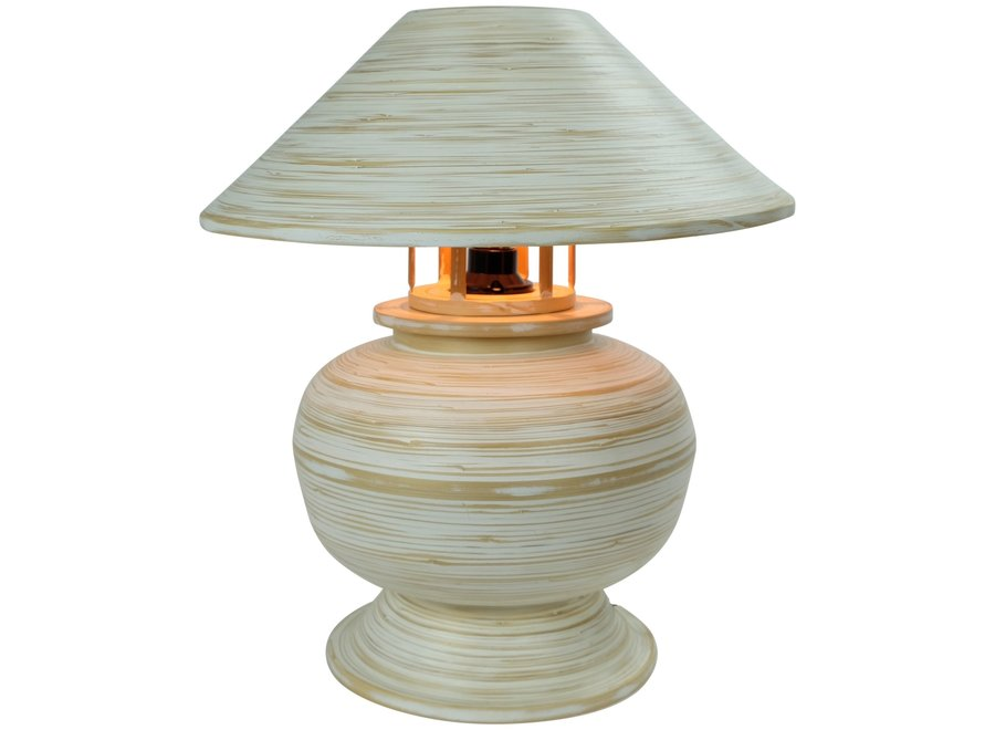 Fine Asianliving Tischlampe Bambus Spirale Handgefertigt Weiß 37x37x40cm