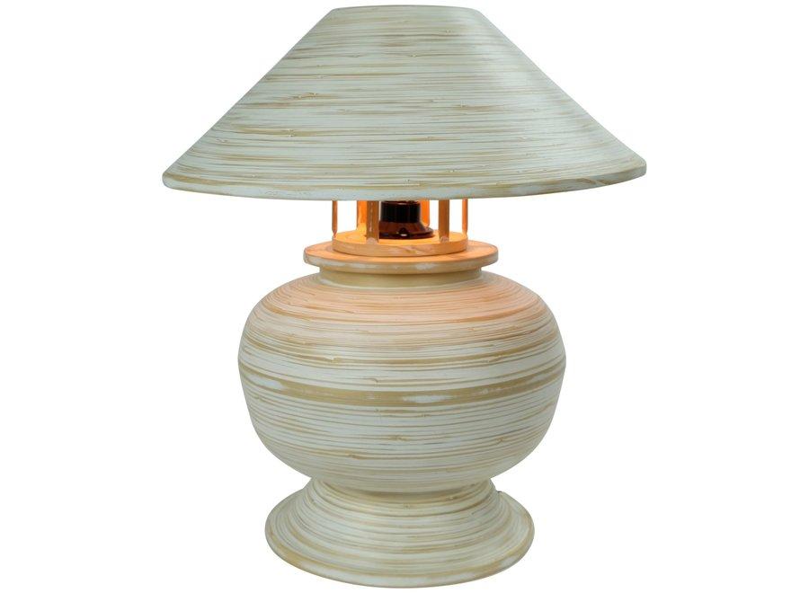 Tischlampe Bambus Spirale Handgefertigt Weiß 37x37x40cm