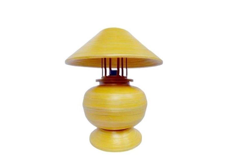 Fine Asianliving Tischlampe Bambus Spirale Handgefertigt Gelb 37x37x40cm