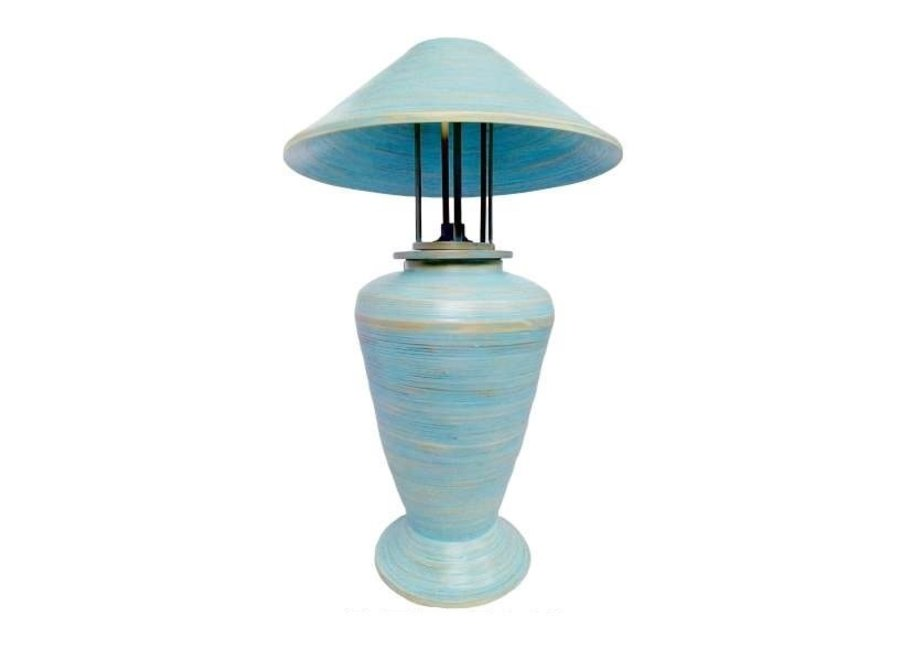Fine Asianliving Tischlampe Bambus Spirale Handgefertigt Blau 40x40x65cm