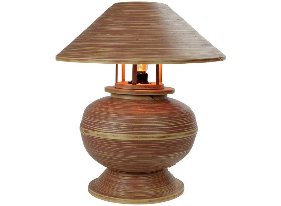 Tischlampe Bambus Spirale Handgefertigt Brown 37x37x40cm