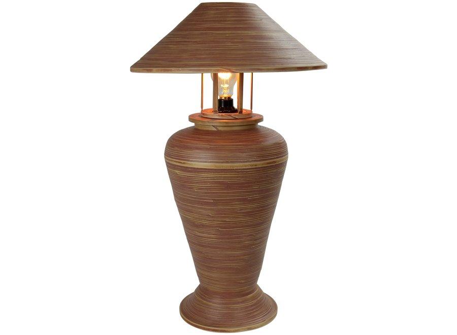 Tischlampe Bambus Spirale Handgefertigt Brown 40x40x65cm