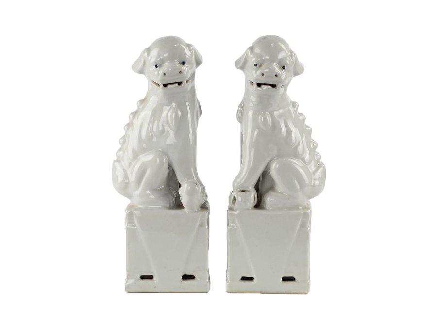 Fine Asianliving Chinese Foo Dogs White Porcelain Set/2 Handmade W11xD7xH28cm