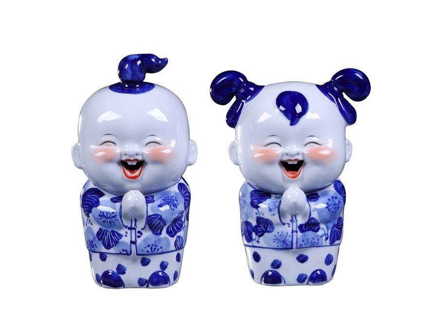 Fine Asianliving Chinese Beelden Blauw Blessing Couple Handbeschilderd Set/2