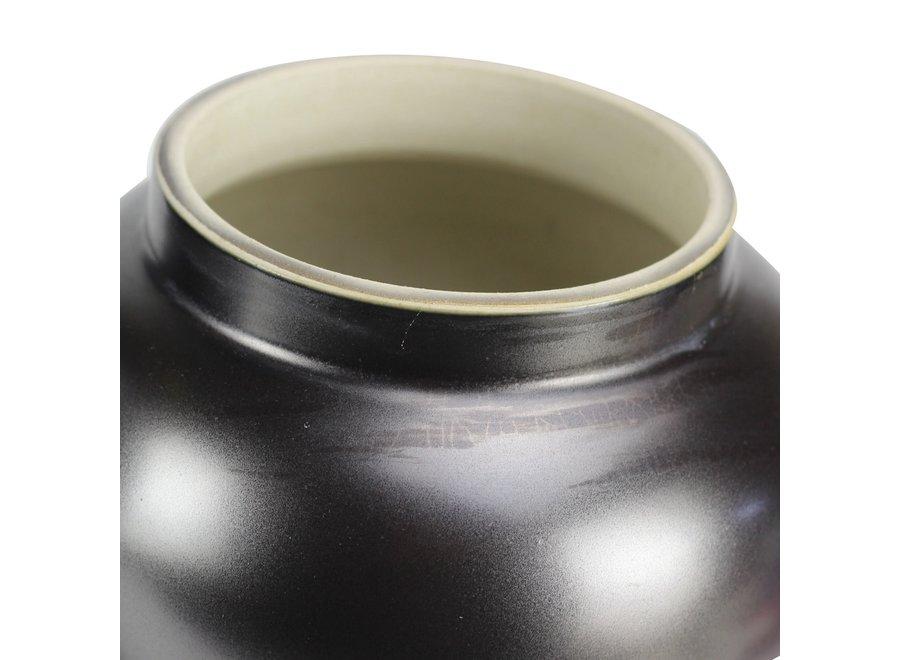 Chinesische Deckelvase Porzellan Schwarz Gold B22xH38cm