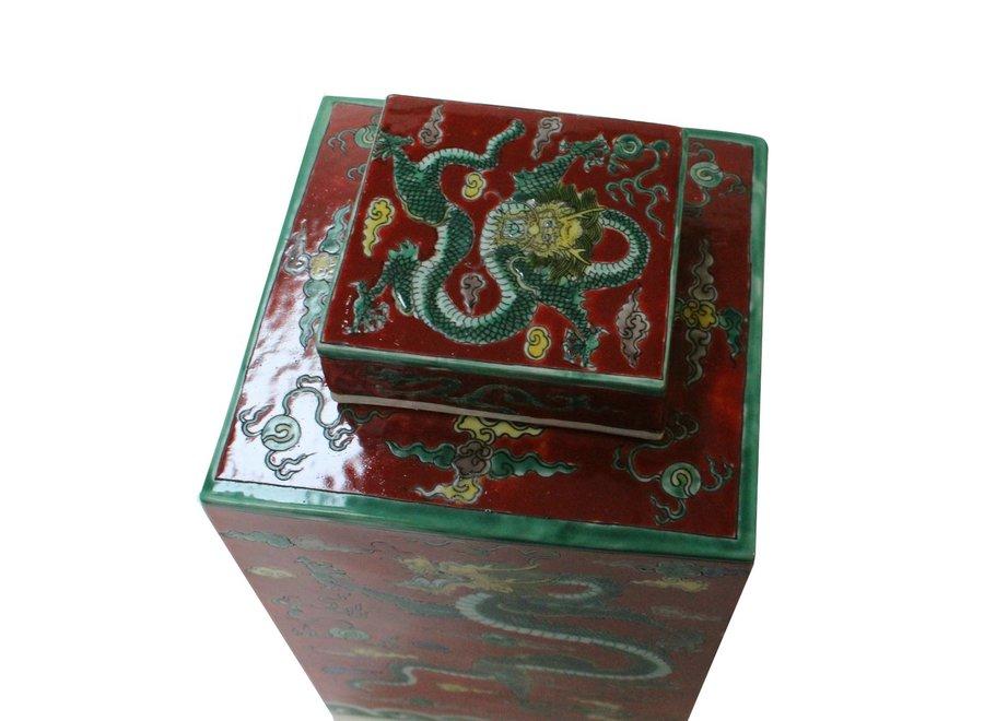 Fine Asianliving Chinesischer Ingwertopf Porzellan Handbemalt Drache Rot B18xT18xH34cm
