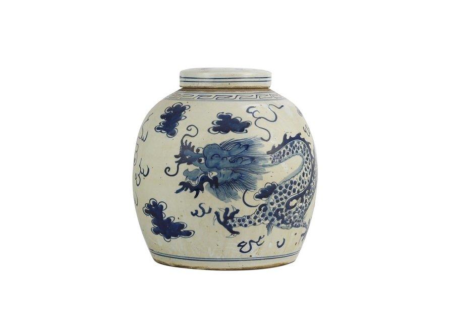 Chinesischer Deckelvase Porzellan Handbemalt Drache Blau D29xH29cm