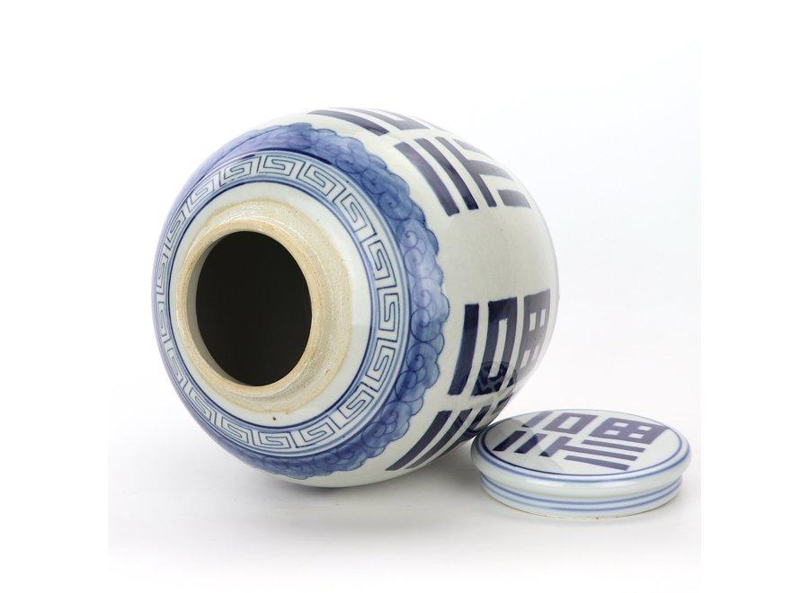Chinesischer Deckelvase Porzellan Handbemalt Glück Blau D23xH23cm