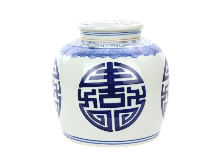 Fine Asianliving Chinesischer Ingwertopf Porzellan Handbemalt Glück Blau B23xH23cm