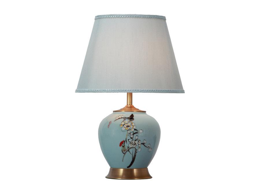 Chinesische Tischlampe Porzellan Blau Handbemalt mit Schirm