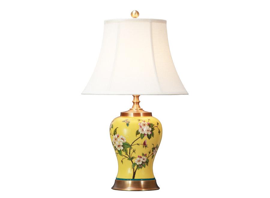 Fine Asianliving Chinesische Tischlampe Porzellan mit Schirm Handbemalt Gelb D41xH66cm