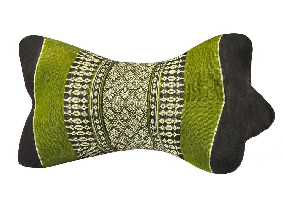 Thai Nackenkissen Nackenstütze 18x32cm Yoga Meditation Kapok Grün