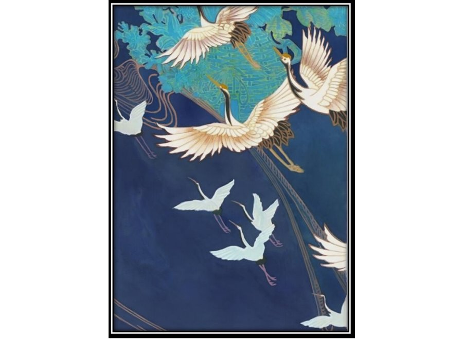 Aquarelle Painting Handmade Japanese Cranes with Frame Solid Wood 75x55cm Navy