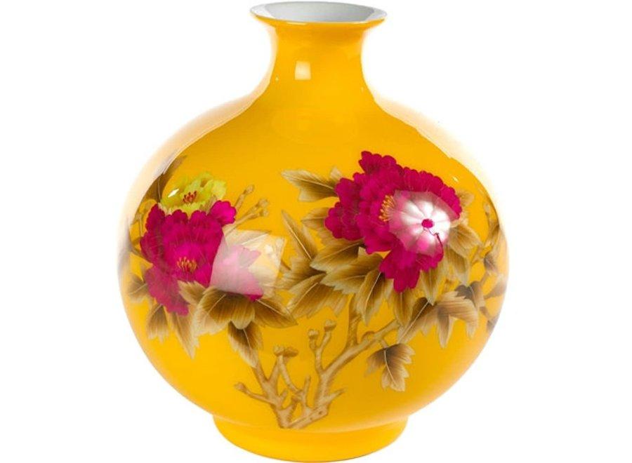 Fine Asianliving Chinesische Vase Porzellan Handgefertigt Pfingstrose Gelb H29.5cm