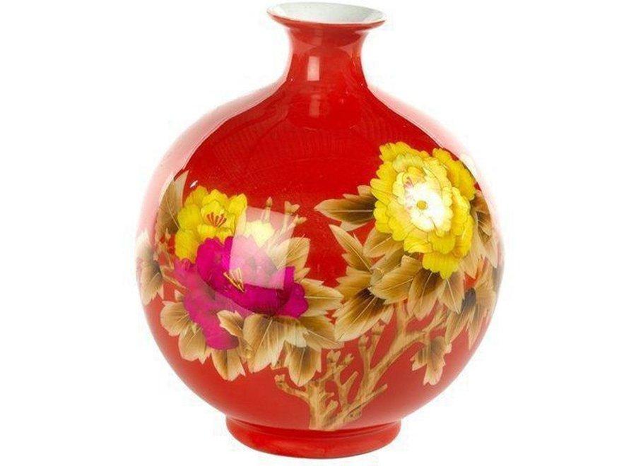 Chinesische Vase Porzellan Weizenstroh Pfingstrose Rot Handgefertigt D25xH29.5cm