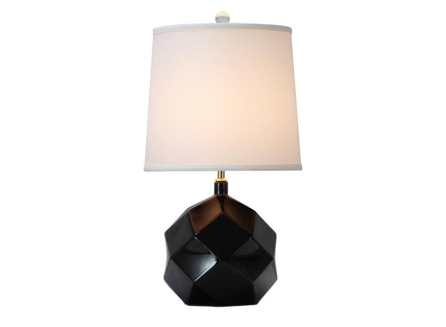 Tischlampe Porzellan mit Schirm Schwarz mit Kunst