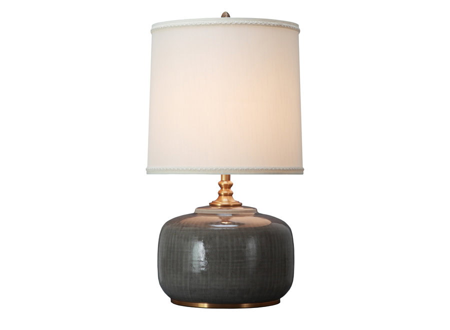 Chinesische Tischlampe Porzellan mit Schirm Dunkelgrau
