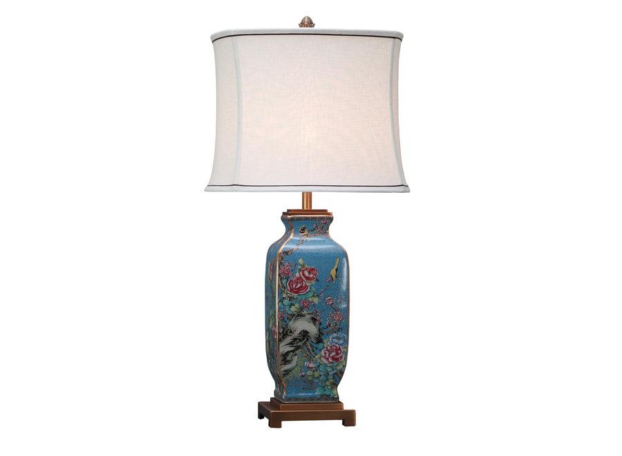Chinesische Tischlampe Porzellan mit Leinen Schirm Handbemalt