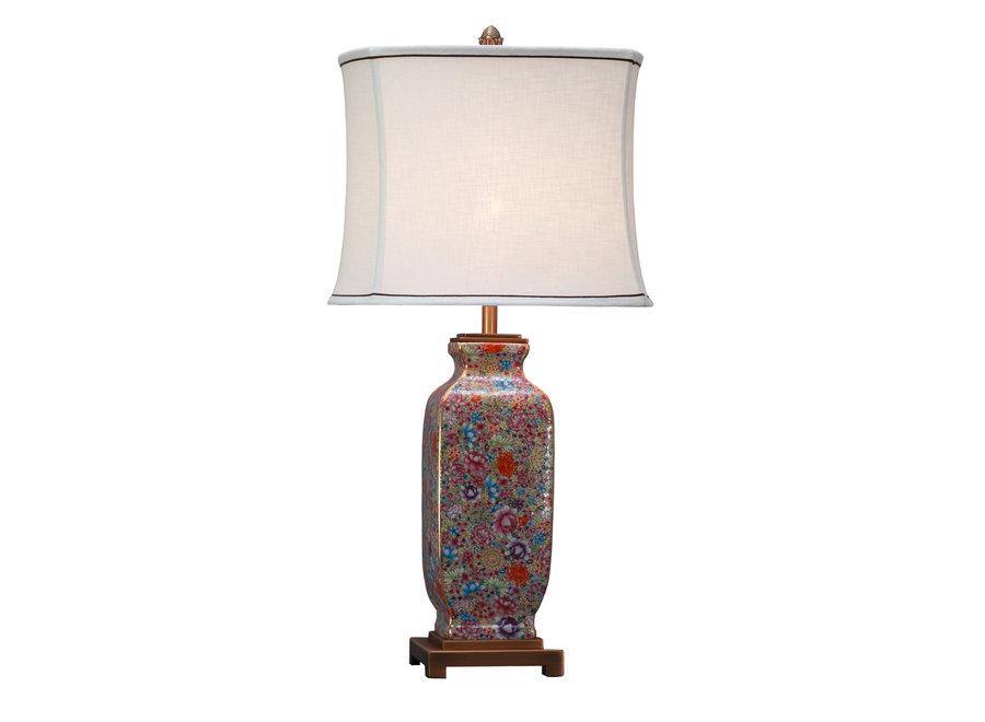 Chinesische Tischlampe Porzellan mit Schirm Vielfarbig Handbemalt
