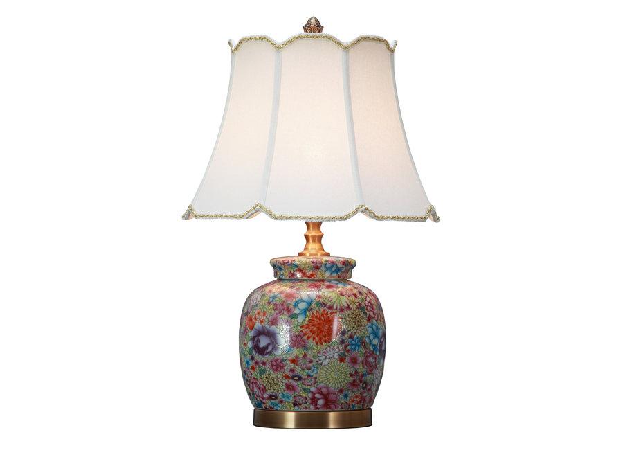 Chinesische Tischlampe Porzellan mit Schirm Vielfarbige Kunst