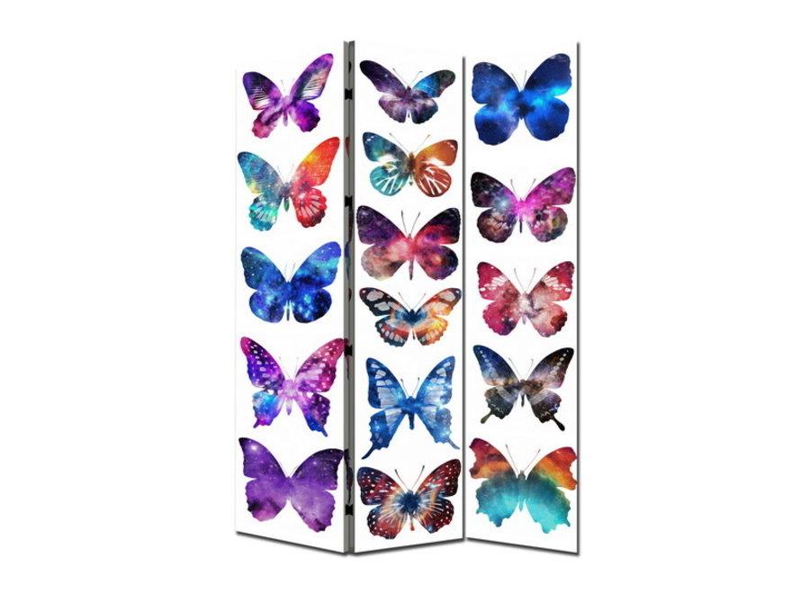 Fine Asianliving Paravent Raumteiler B120xH180cm 3-teilig Schmetterlinge