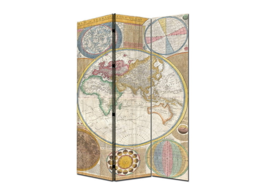 Paravent Raumteiler B120xH180cm 3-teilig Weltkarte