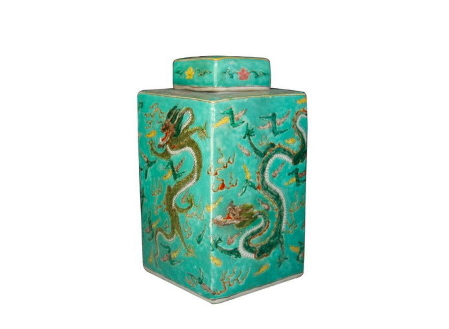 Fine Asianliving Chinesischer Ingwertopf Porzellan Handbemalt Drachen Grün B18xT18xH34cm