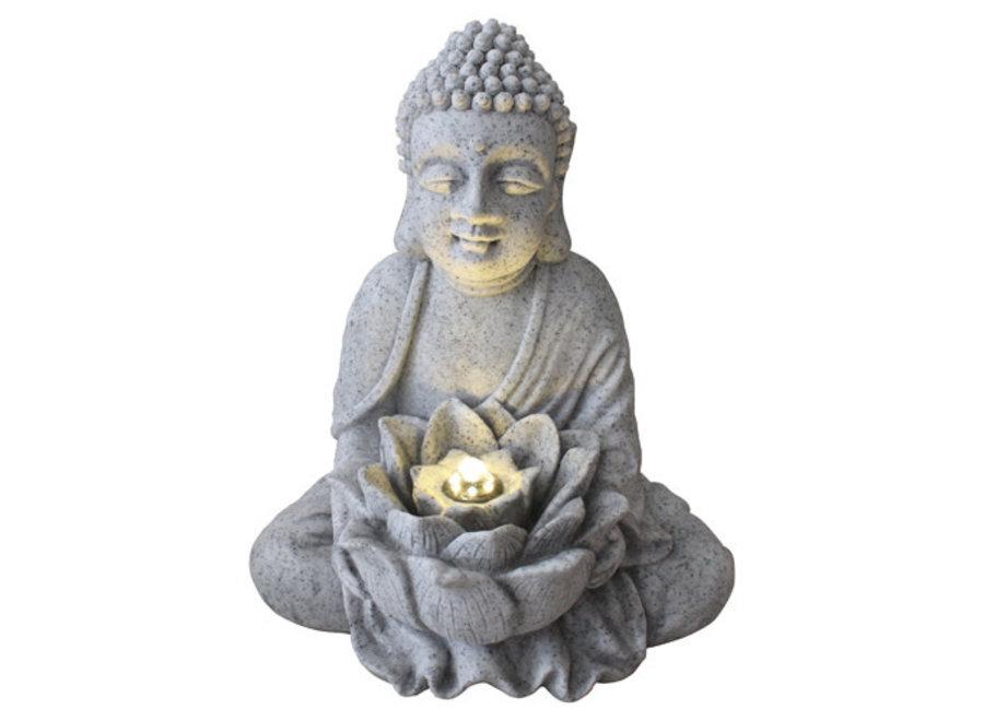 Fine Asianliving Zimmerbrunnen Sandstein Buddha mit Lotus 31.5x26.8x37cm