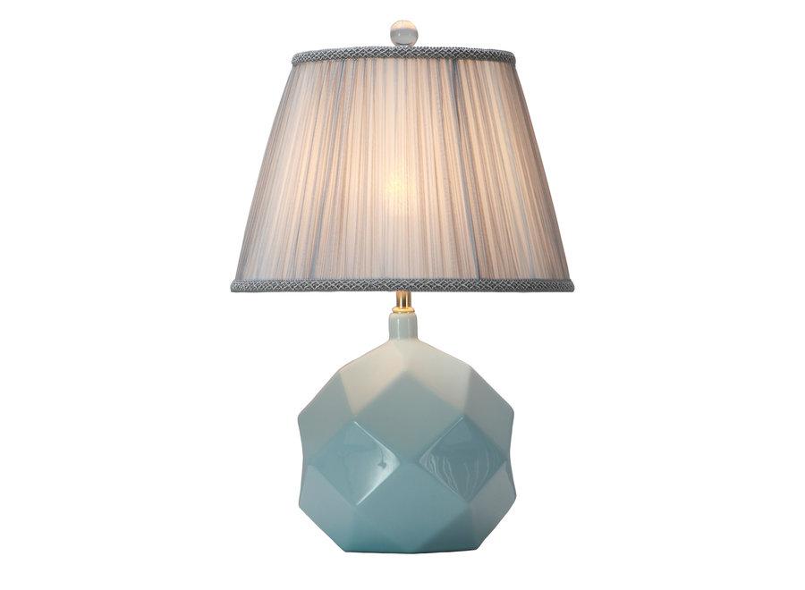 Fine Asianliving Tischlampe Porzellan mit Schirm Himmelblau mit Kunst