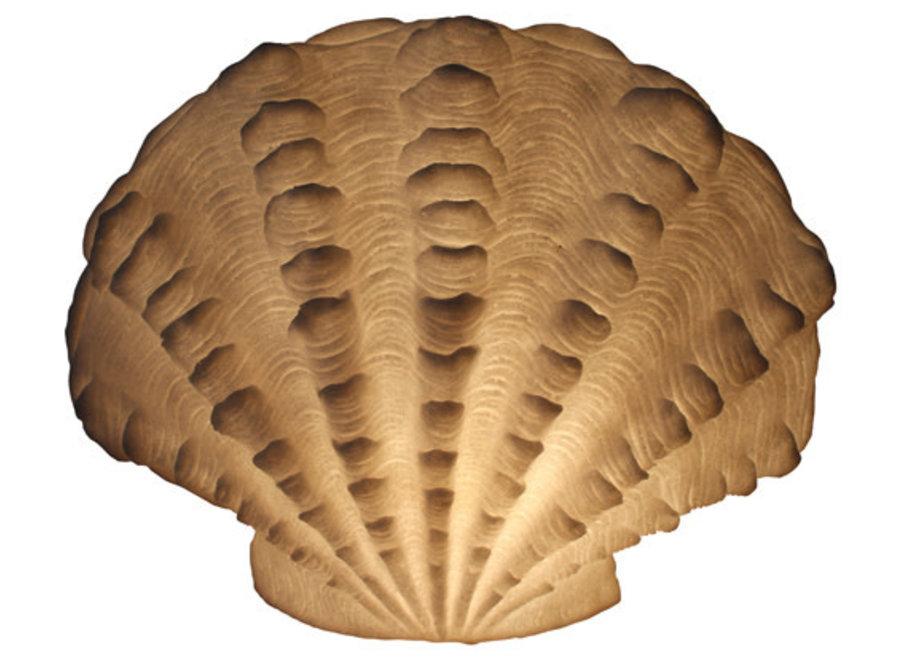 Tischlampe aus Sandstein Gewellte Jakobsmuschel 43.6x23.5x34cm