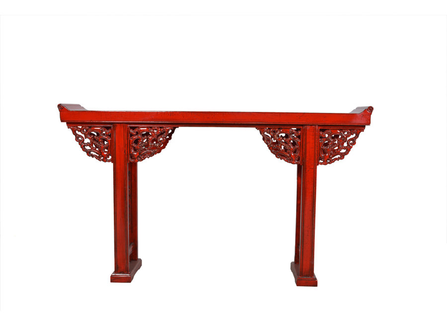 Fine Asianliving Chinesischer Konsolentisch Beistelltisch Details Rot