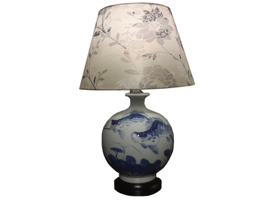Fine Asianliving Chinesische Tischlampe Porzellan mit Schirm Koi